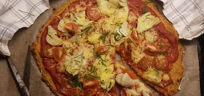 pizza på sötpotatisbotten