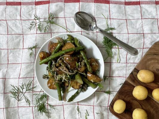 sallad med rostad potatis